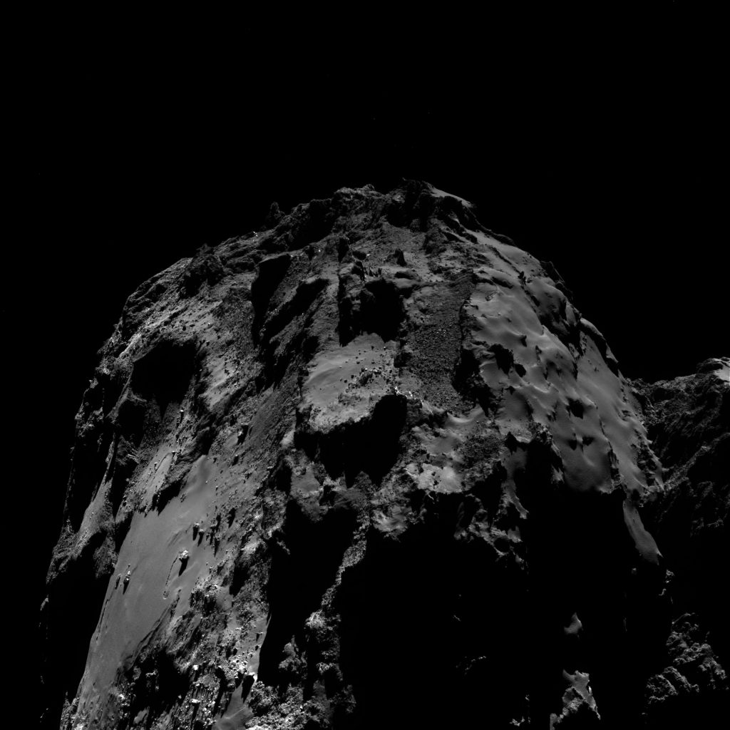 OSIRIS wide-angle camera image taken on 10 August 2016, when Rosetta was 12.8 km from the centre of Comet 67P/Churyumov–Gerasimenko. The scale is 1.18 m/pixel at the comet and the image measures about 2.4 km. Credits: ESA/Rosetta/MPS for OSIRIS Team MPS/UPD/LAM/IAA/SSO/INTA/UPM/DASP/IDA