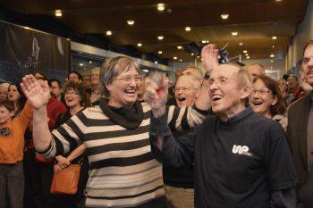 Celebrating Rosetta's wake up at the University of Bern, 20 January 2014. Image courtesy K. Altwegg.