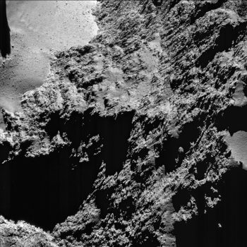 The cliffs of Hathor, seen in a 31 August 2016 view of the comet.