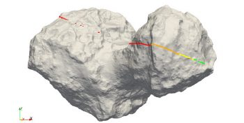 This image shows the path on the comet's surface where waves transmitted by Philae during the First Science Sequence, between 12 and 13 November 2014, emerged from the nucleus. Green represents the best signal quality, decreasing in quality to red for no signal. Credit: ESA/Rosetta/Philae/CONSERT