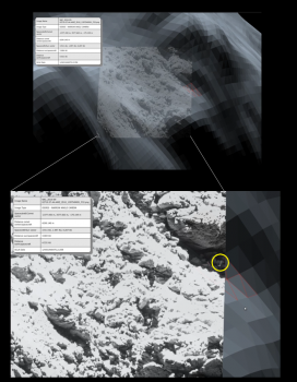 Checking OSIRIS images (foreground inset) against 3D shape models (background). The triangular facets helped identify the location visibility. This approach is used in planning the observations as well as in checking the results afterwards. Credits: ESA/Rosetta/SGS/R. Andres; Inset: ESA/Rosetta/MPS for OSIRIS Team MPS/UPD/LAM/IAA/SSO/INTA/UPM/DASP/IDA