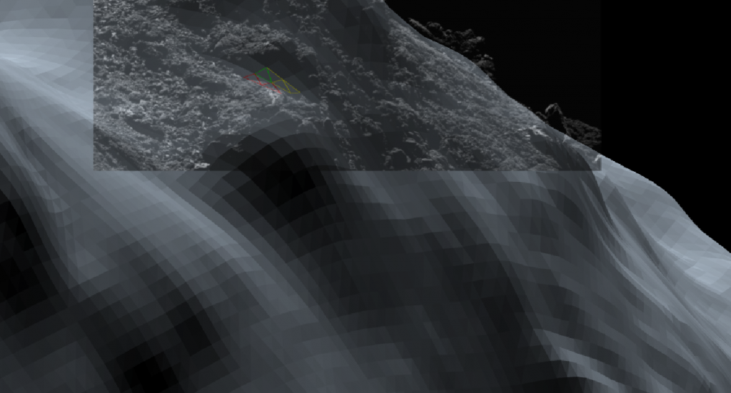 An overlay of an OSIRIS image of the nose rock on the 3D shape model where the discrepancy between the two is clear. Credits: ESA/Rosetta/SGS/R. Andres; Inset: ESA/Rosetta/MPS for OSIRIS Team MPS/UPD/LAM/IAA/SSO/INTA/UPM/DASP/IDA