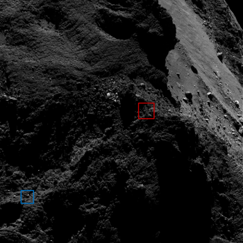 Context image showing the relative positions of the 'red' and 'blue' candidates. The image was taken on 9 March 2016, 15 km from the surface. Credits: ESA/Rosetta/MPS for OSIRIS Team MPS/UPD/LAM/IAA/SSO/INTA/UPM/DASP/IDA