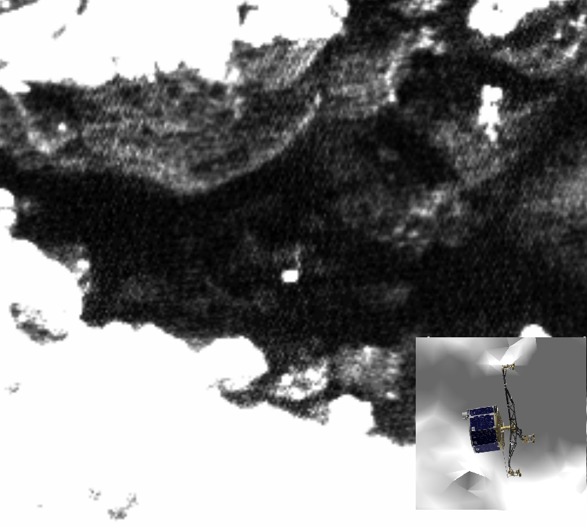 [Fig 9]: Image taken on 01 June 2016 with 3D view of Philae at same time for comparison purposes. Credits: images: ESA/Rosetta/MPS for OSIRIS Team MPS/UPD/LAM/IAA/SSO/INTA/UPM/DASP/IDA; 3D Philae shape: CNES/ A.Charpentier; Lander search analysis: L. O'Rourke