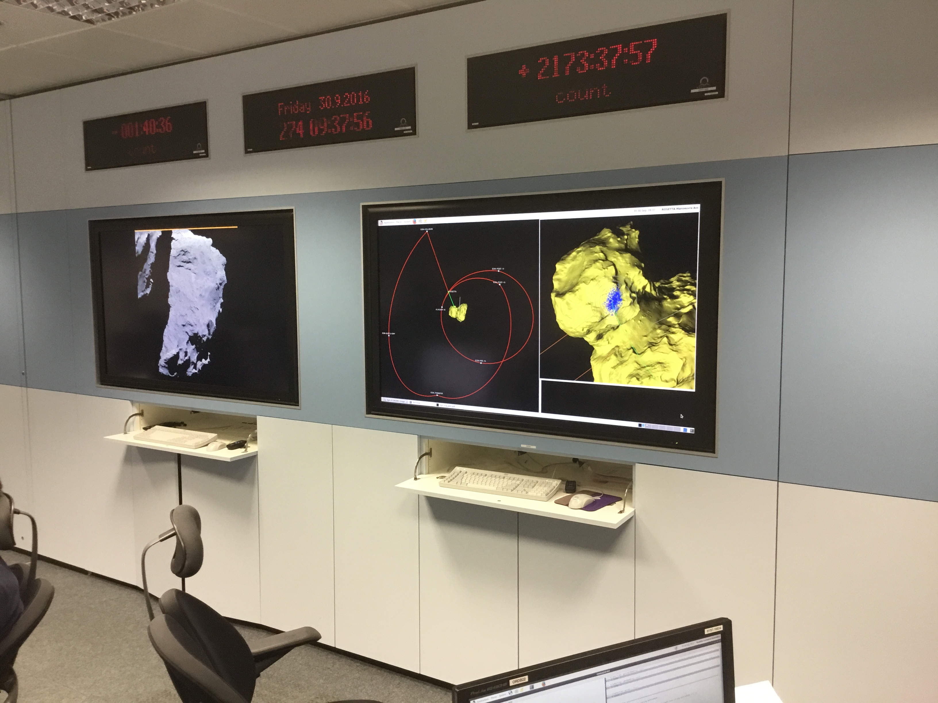 Visualisation screens in the Flight Dynamics control room at ESOC. Credit: ESA