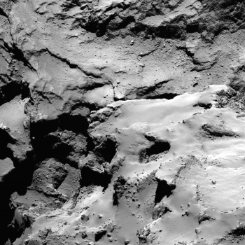 view of the Ma'at pits, including a nice view of the debris seen inside Deir el-Medina. The image was taken on 13 September 2014 from 30 km. Credit: ESA/Rosetta/MPS for OSIRIS Team MPS/UPD/LAM/IAA/SSO/INTA/UPM/DASP/IDA