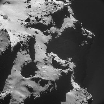 Single-frame NAVCAM image of the Ma'at pit region captured from a distance of 9.9 km from the centre of the comet on 15 October 2014. The image resolution is 84.6 cm/pixel and the size of the image is 866 x 866. Credits: ESA/Rosetta/NAVCAM – CC BY-SA IGO 3.0