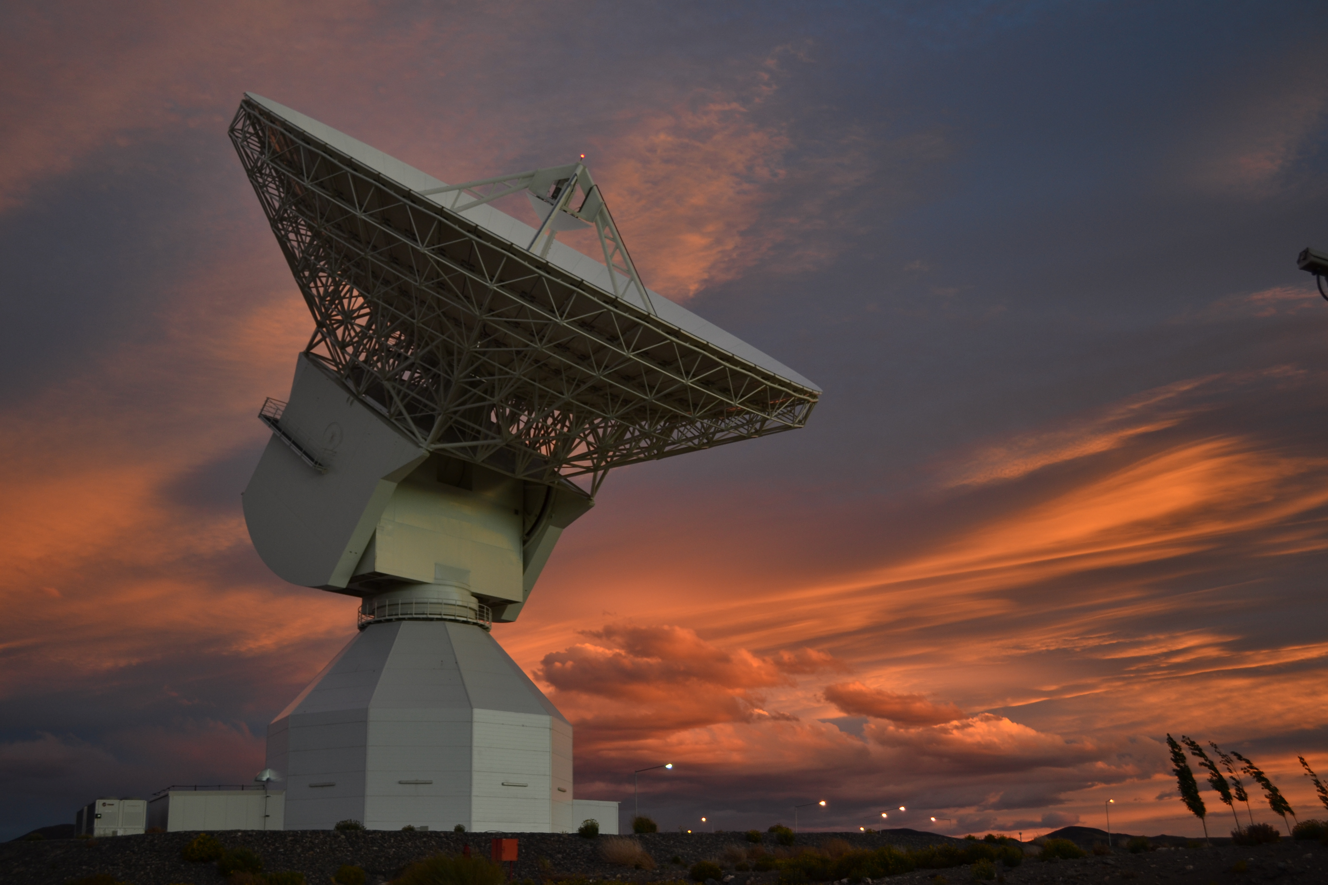 ESA's 35 m-diameter deep-space tracking station at New Norcia, Australia, seen during a dramatic sunset, 11 November 2014. Credit: ESA