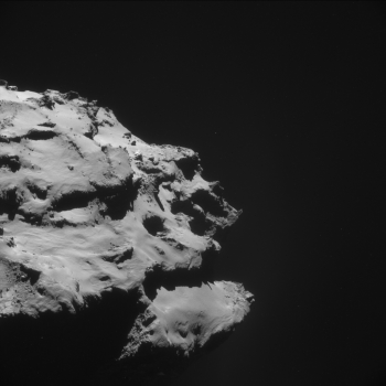 The Ma'at pit region seen with Rosetta's NAVCAM from 18 km on 8 October 2014. Credits: ESA/Rosetta/NAVCAM – CC BY-SA IGO 3.0
