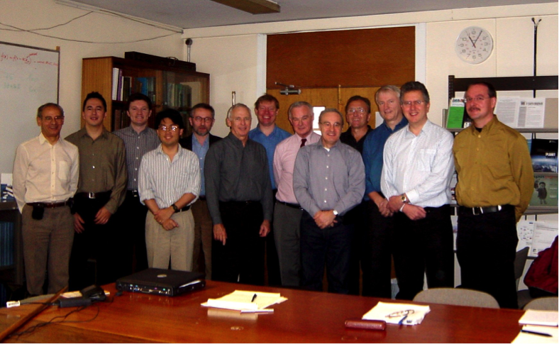 Blast from the past: a team meeting from 2002, before Rosetta even launched, which shows the original core RPC team; from left to right: Jean-Luis Michau, Chris Lee, Chris Carr, John Hanley, Karl-Heinz Glassmeier, Jim Burch, Anders Eriksson, Andre Balogh, Jean-Gabriel Trotignon, Günter Musmann, Rickard Lundin, Andrew Coates, Ingo Richter. Today's team comprises 21 people working on the instrument operations, and 63 people in the complete science team (with some cross-over between science and operations). Image courtesy C. Carr.