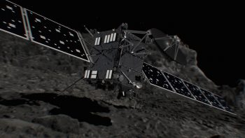 Artist impression of Rosetta arriving on the surface of the comet. Credit: ESA/ATG medialab