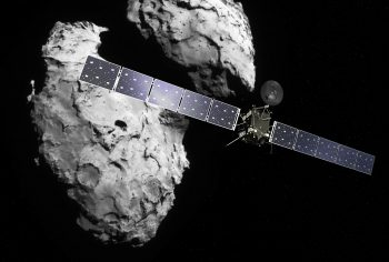 Rosetta at the comet. Credit - Spacecraft: ESA/ATG medialab; Comet image: ESA/Rosetta/Navcam