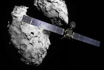 Rosetta at the comet. Credit - Spacecraft: ESA/ATG medialab; Comet image: ESA/Rosetta/Navcam