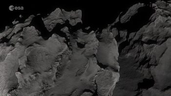 Artist's impression of Rosetta descending to the surface of Comet 67P/Churyumov–Gerasimenko on 30 September 2016. Credits: ESA/ATG medialab