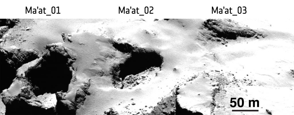 OSIRIS narrow-angle camera image taken from a distance of 28 km from the comet surface. From left to right the pits measure 125 m, 130 m and 140 m across and are 65 m, 60 m and 50 m deep, respectively. Credits: ESA/Rosetta/MPS for OSIRIS Team MPS/UPD/LAM/IAA/SSO/INTA/UPM/DASP/IDA