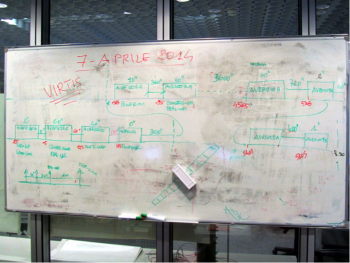Caption: Redesigning the VIRTIS initialization procedure on the fly. Photo courtesy F. Capaccioni