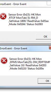 Post-hibernation error messages. Images courtesy K. Altwegg