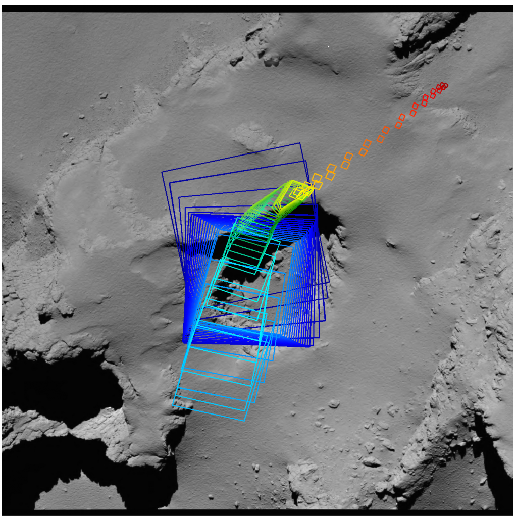 Imaging 'footprints' of the OSIRIS camera. The primary focus in the final descent phase was Deir el-Medina pit as shown by the blue squares, with the last images taken above the eventual impact site at Sais, as indicated by the red squares. Credits: ESA/Rosetta/MPS for OSIRIS Team MPS/UPD/LAM/IAA/SSO/INTA/UPM/DASP/IDA