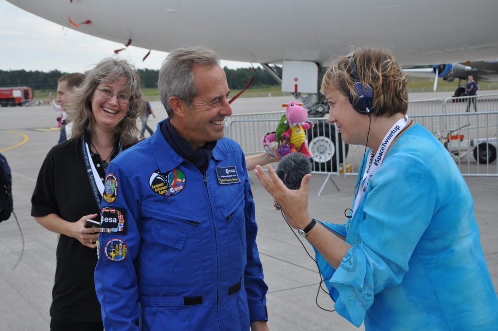 A media moment with ESA astronaut J-F Clervoy at ILA Tweetup Credit: Jaroslaw Jaworski