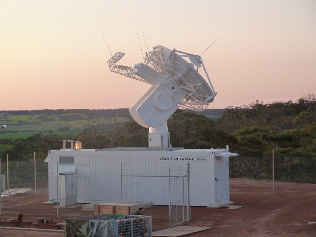 A new 4.5 m-diameter 'acquisition aid' dish antenna is being added to ESA's existing New Norcia, Western Australia, tracking station, ready to catch the first signals from newly launched satellites. Credit: ESA