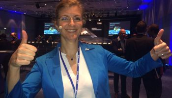 Sentinel-2 mission manager Bianca Hoersch at the Sentinel-2A launch event at ESOC. Credit: ESA