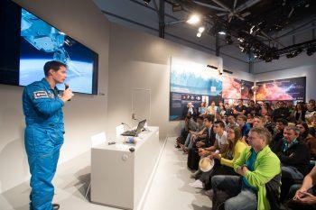 Thomas Pesquet meets the public at the ESA pavilion. Image: ESA, P.Sebirot.
