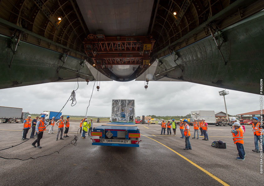 Arrival of the the Mercury Magnetospheric Orbiter (MMO) and the Mercury Planetary Orbiter (MPO) to airport Felix Eboue (02/05/2018)