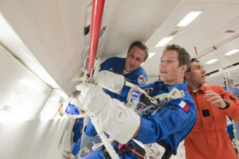 Thomas during parabolic flight. Credits: ESA–A. Le'Floch