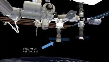 Soyuz MS-03 docking on MRM1 Nadir