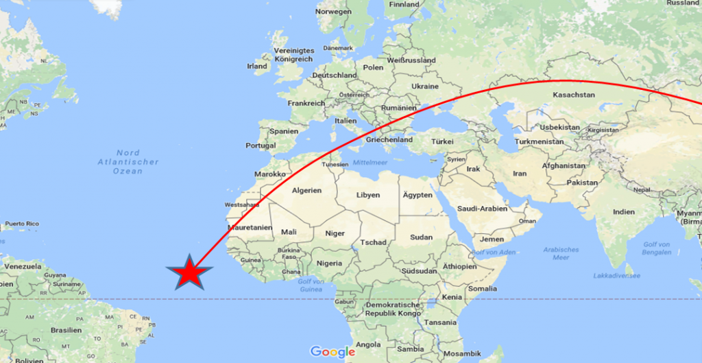 Projected docking location with trajectory of International Space Station