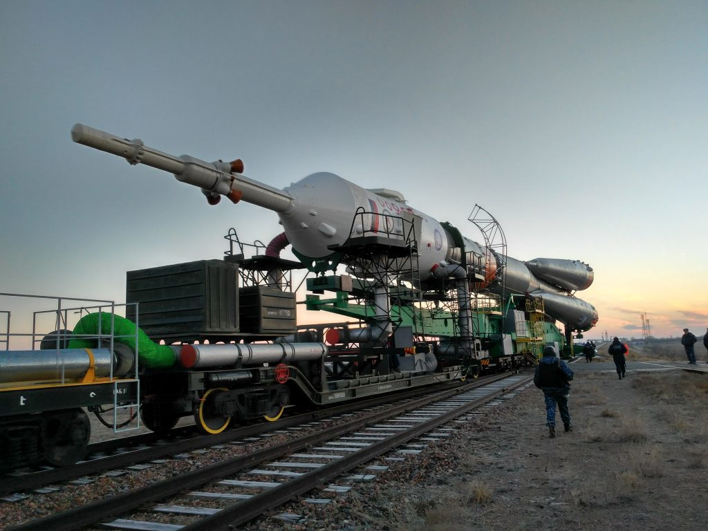 Rolling the rocket to the launchpad by train. Credits: ESA