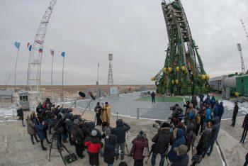 Blessing the Soyuz rocket and media. Credits: ESA