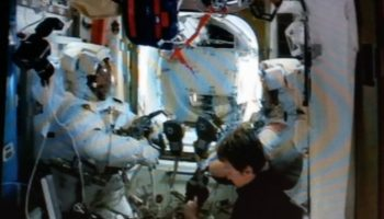 Thomas and Shane in spacesuits prebreathing. Credits: NASA