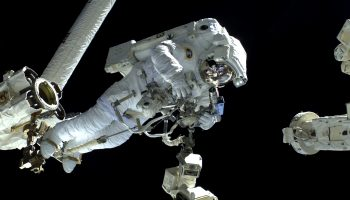 ESA astronaut Luca Parmitano on his spacewalk in 2014 after retrieving the CPLA. Credits: ESA/NASA