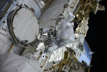 Thomas in the spacesuit without stripes during his first spacewalk. Credits: Roscosmos