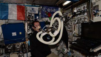 ESA astronaut Thomas Pesquet recording his oxygen levels. Credits: ESA/NASA