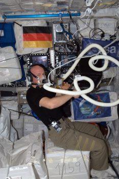 ESA astronaut Alexander Gerst recording his oxygen levels. Credits: ESA/NASA
