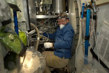 Peggy working on the toilets in November 2016. Credits: ESA/NASA