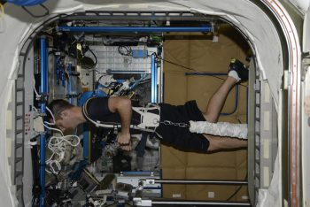Thomas running on the Station's treadmill. Credits: ESA/NASA