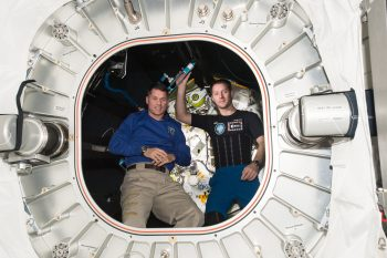 Shane and Thomas in the BEAM module. Credits: ESA/NASA