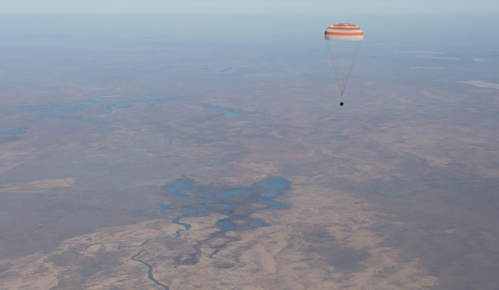 Soyuz MS-02 with Shane, Andrei and Sergei landing. Credits: NASA–B. Ingalls