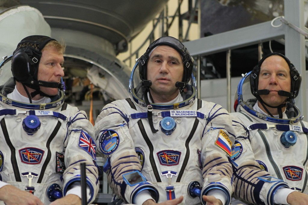 Tim Peake, Yuri Malenchenko and Tim Kopra. Credits: NASA