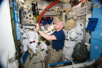 ESA astronaut Alexander Gerst working in the Quest Airlock in 2014. Credits: ESA/NASA