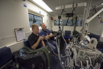 Training with Airway Monitoring equipment at NASA's Jonson Space Center, USA.
