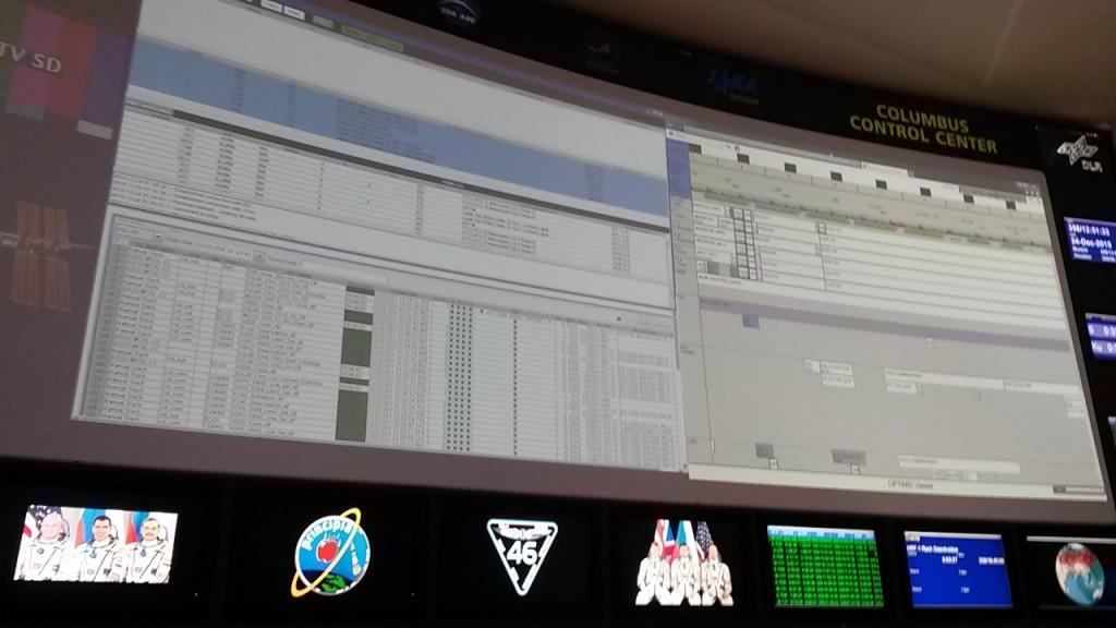 Expedition 46 Crew and Principia: Columbus Control Centre displays.