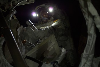 Alexander Gerst spacewalking darkness. Credits: ESA/NASA