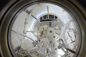 Tim Kopra in the Quest Airlock after his spacewalk 21 December. Credits: ESA/NASA
