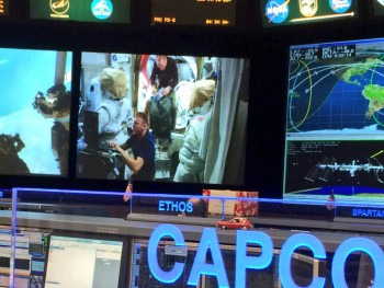 View from mission control monitoring Tim and Tim preparing the spacewalk. Tweeted by Candian astronaut David St. Jacques: https://twitter.com/Astro_DavidS/status/684740007790170113