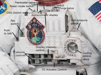 Spacesuit controls with temperature control on the right. Credits: Wikipedia