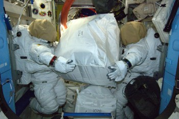 Spacesuit storage in the Quest Airlock. Credits: ESA/NASA